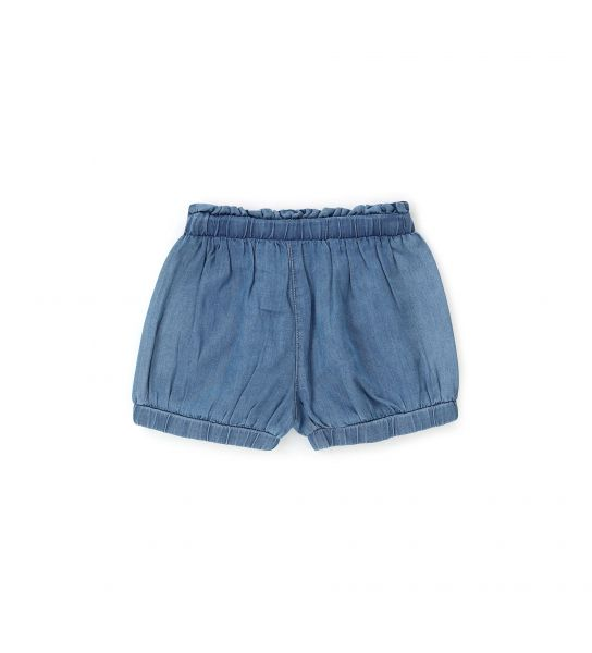 LIGHT DENIM SHORTS WITH BOW IN FRONT