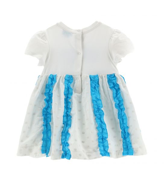 DRESS WITH ALL OVER EMBROIDERED FLOUNCE