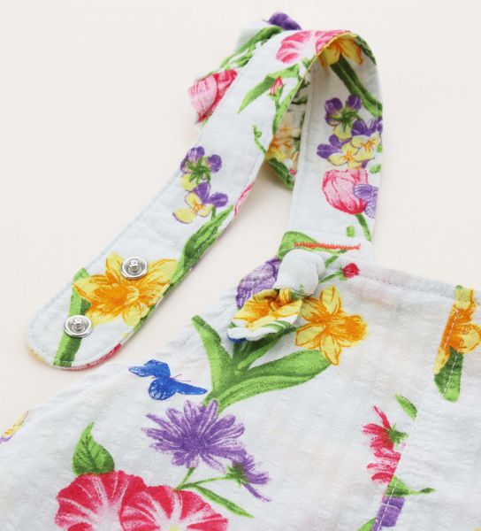 SHORT DUNGAREES IN PRINTED COTTON