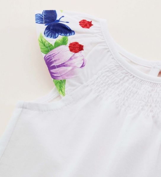 SHORT SLEEVE T-SHIRT WITH GLITTER AND EMBROIDERY