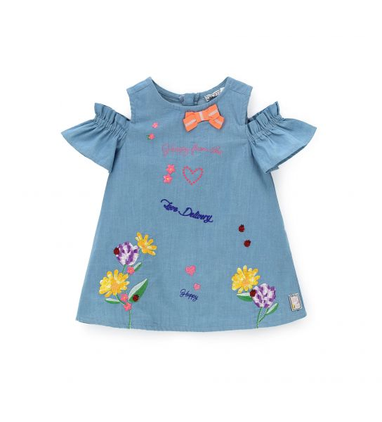 DRESS IN DENIM AND SHORT SLEEVE EMBROIDERY