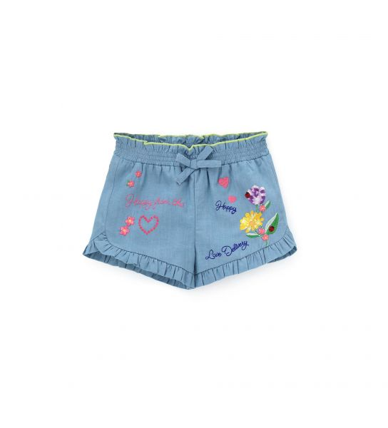 SHORT IN DENIM E VOLANT