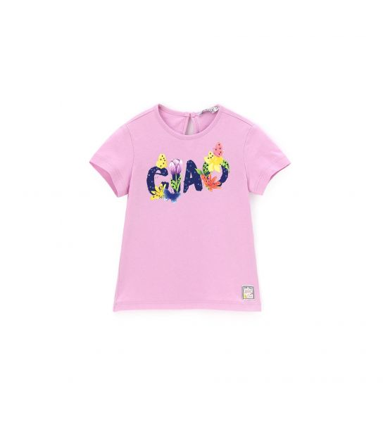 SHORT SLEEVE T-SHIRT WITH PRINT AND RHINESTONES