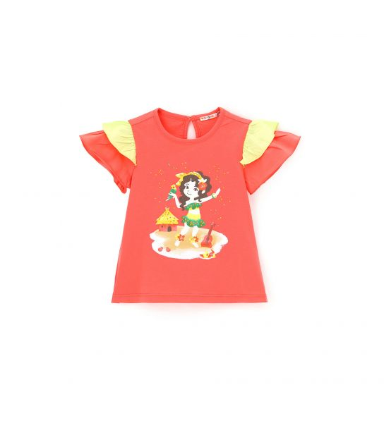 SHORT SLEEVE T-SHIRT WITH RUFFLE
