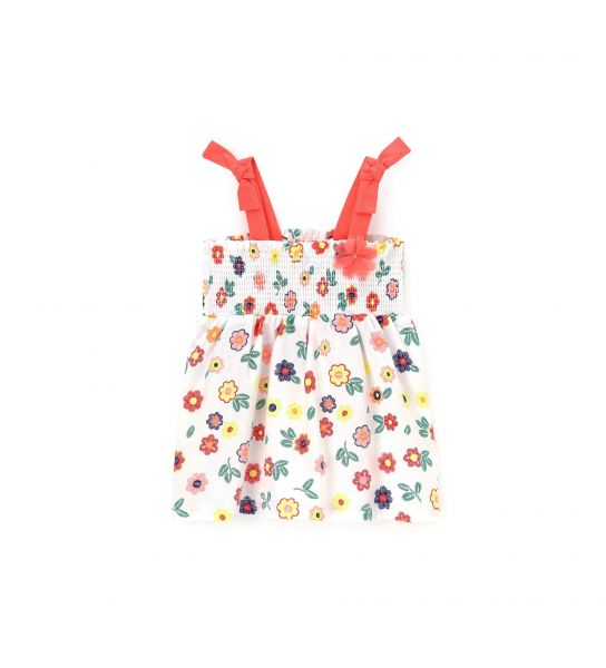 COTTON DRESS WITH ORGANZA FLOWER