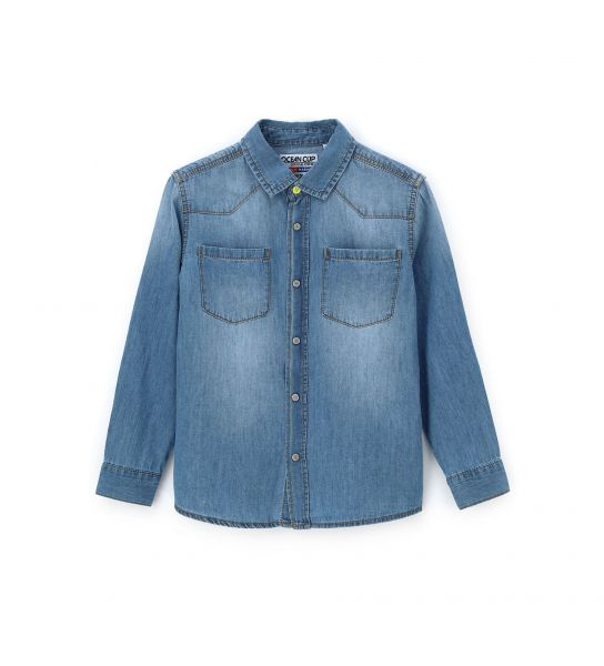 LONG SLEEVE SHIRT IN COTTON DENIM