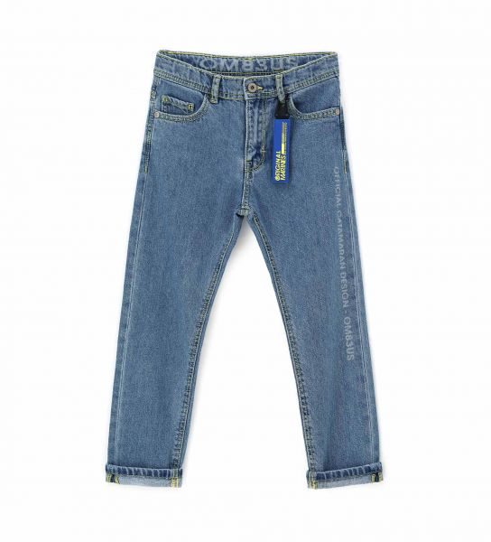 STRETCH DENIM JEANS WITH METAL PATTERN