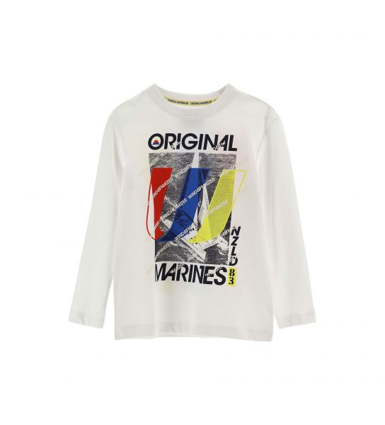 LONG SLEEVE COTTON T-SHIRT WITH FRONT AND BACK PRINT