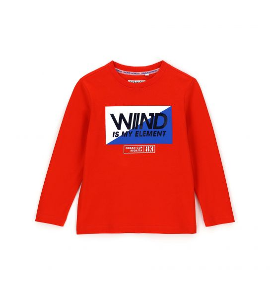 LONG SLEEVE T-SHIRT WITH RIB PRINT FRONT AND BACK