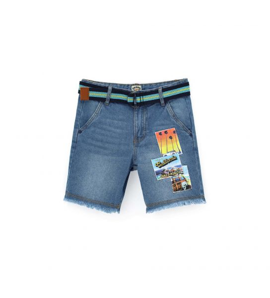 DENIM BERMUDA WITH PATCH POCKETS