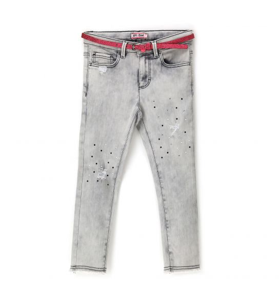 ELASTICIZED JEANS WITH GLITTER