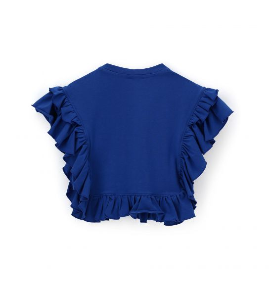 SQUARE T-SHIRT WITHOUT SLEEVES AND RUFFLES
