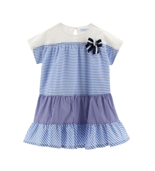 DRESS IN YARN DYED COTTON WITH FLOUNCES