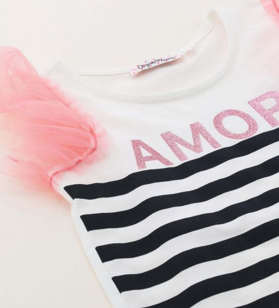 SHORT SLEEVE T-SHIRT WITH STRIPED PRINT