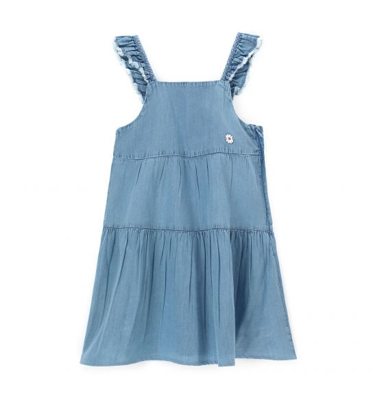 FLOUNCE DENIM DRESS WITH RUFFLES