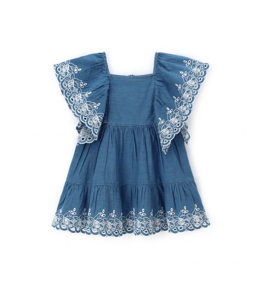 EMBROIDERED DRESS PERFORATED ON THE SHOULDERS