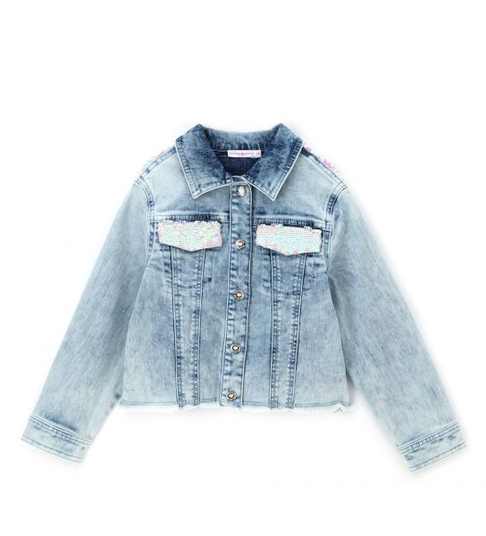 DENIM JACKET WITH IRIDESCENT sequins