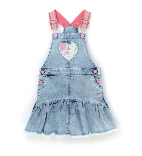 DUNGAREES IN JEANS WITH HEART ON THE POCKET
