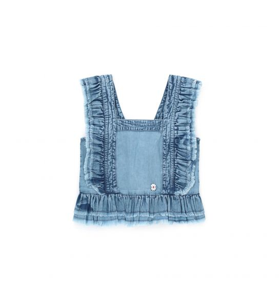 LIGHT DENIM BLOUSE WITH RUFFLES