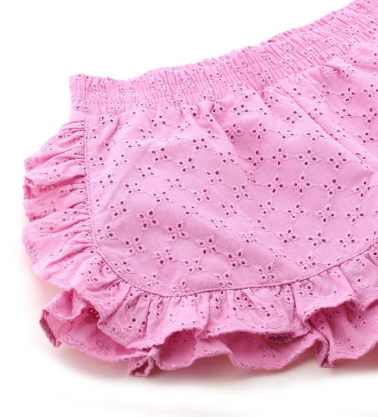 SHORT IN PERFORATED EMBROIDERED COTTON