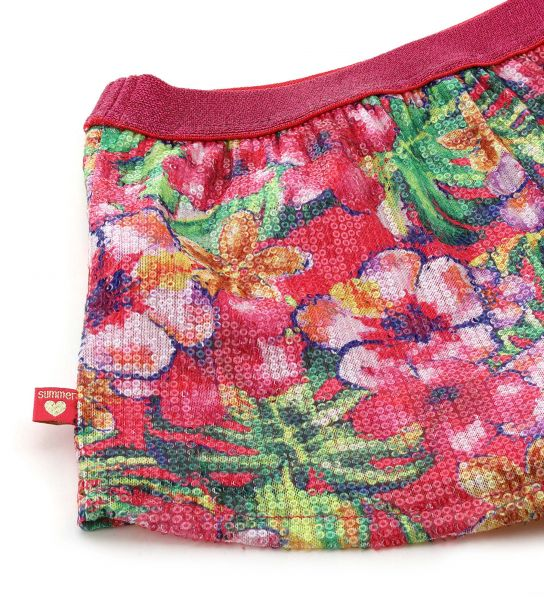 SHORT WITH ALL OVER PRINT AND SEQUINS