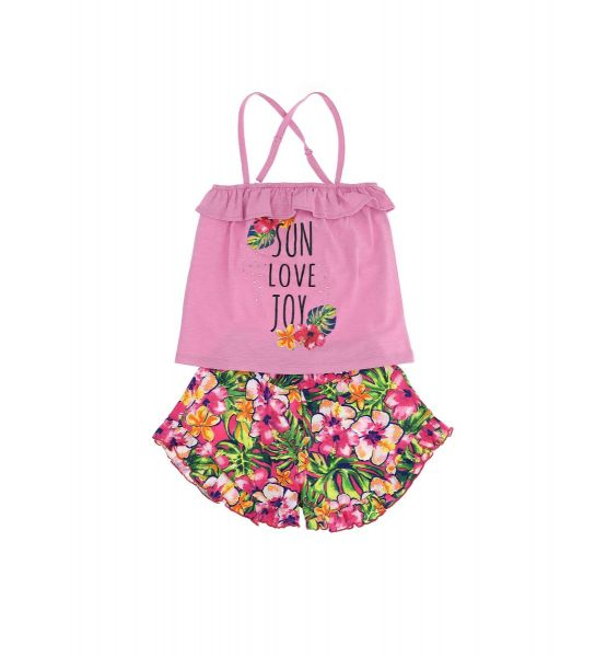 COMPLETE TOP WITH SHORT PRINT WITH RUFFLES