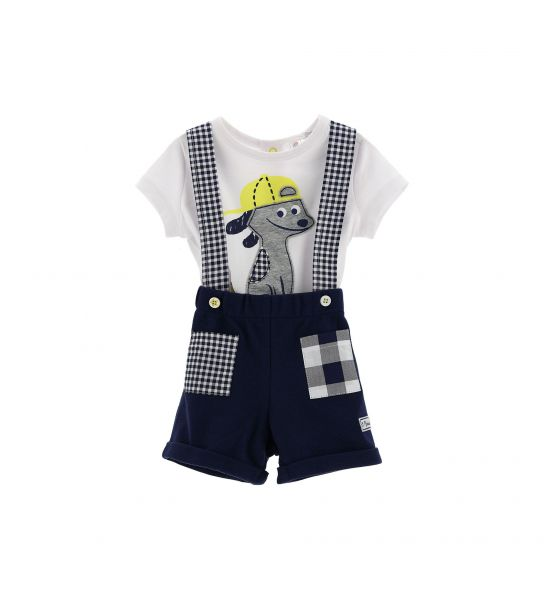 SET T-SHIRT AND DUNGAREES WITH BRACES