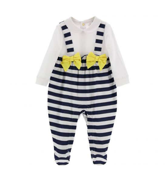 JUMPSUIT WITH FAUX BRACES AND BOWS