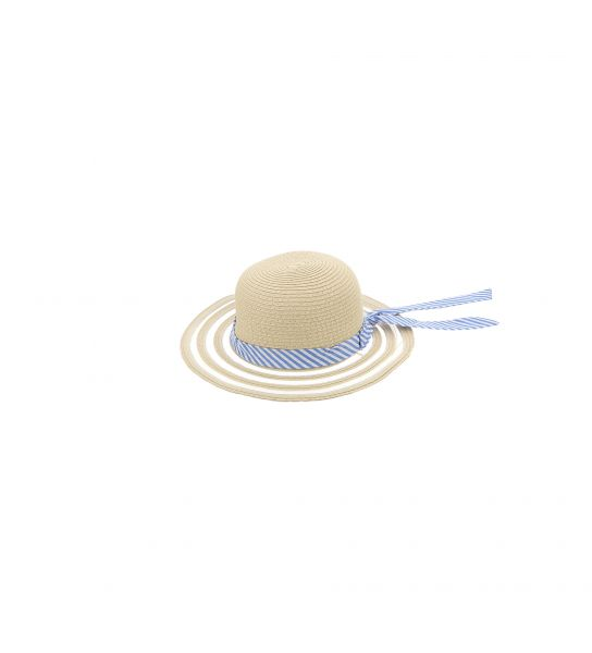 FAUX STRAW HAT WITH RIBBON