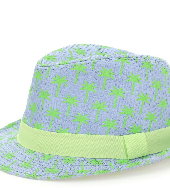 FAUX STRAW HAT AND ALL OVER PRINT