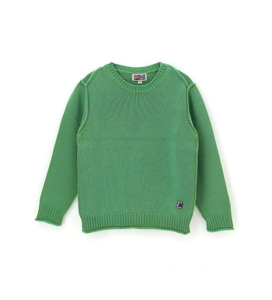 COTTON PULLOVER WITH ROUND NECK AND RIBBED FINISHES
