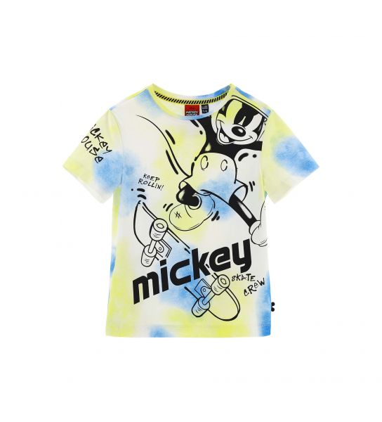 T-SHIRT MANICA CORTA STAMPE MICKEY EFFETTO SPRAY
