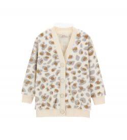ALL OVER PRINTED FAUX FUR CARDIGAN