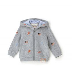 SWEATSHIRT WITH ALL OVER EMBROIDERY AND LINED HOOD