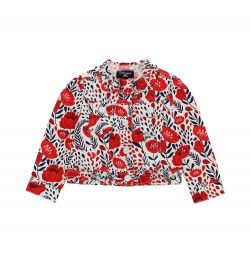 LONG SLEEVE JACKET IN COTTON WITH ALL OVER PRINT