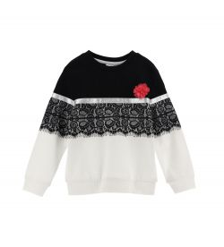 SWEATSHIRT WITH LACE EFFECT PRINT