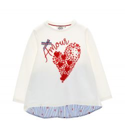 T-SHIRT WITH APPLIED HEARTS