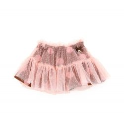 SKIRT WITH TULLE FLOUNCES AND SMALL POLKA DOTS