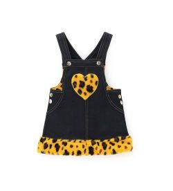 DUNGAREES WITH ECO FUR MOTIFS