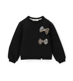 SWEATSHIRT WITH RIB FINISHES AND BOWS