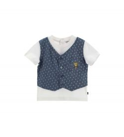 NEWBORN T-SHIRT WITH SHORT SLEEVE WITH FAKE DENIM VEST PRINT