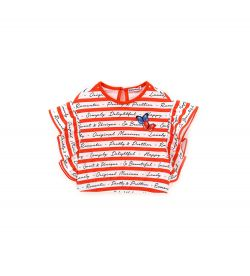 COTTON T-SHIRT WITH ALL OVER PRINT AND RUFFLE SLEEVE