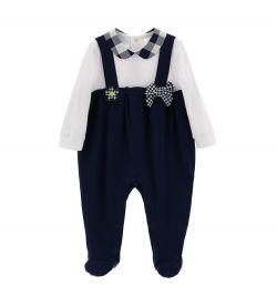 COTTON JUMPSUIT WITH BOW AND PATCH