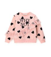 COTTON SWEATSHIRT WITH TULLE AT THE SLEEVES